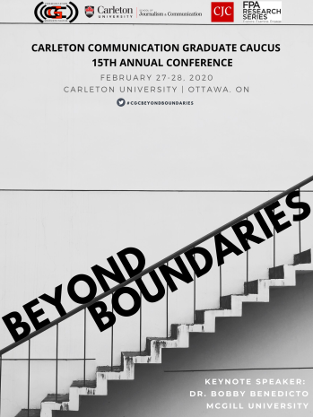 Beyond Boundaries event poster features the words going up stairs